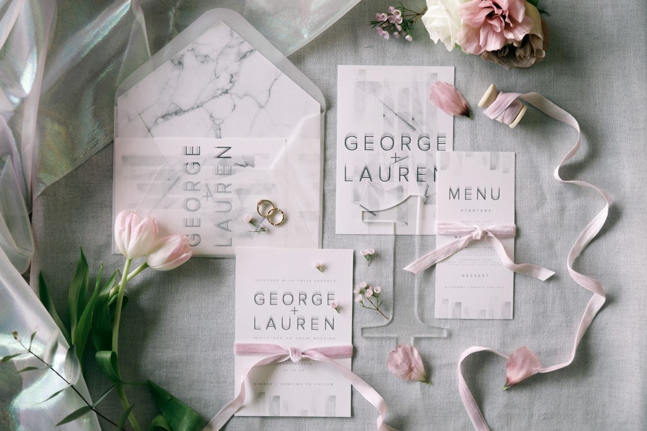 Irididescent Transparent Marble Wedding Invitation Suite | Credit: Jessica Notelo (2)