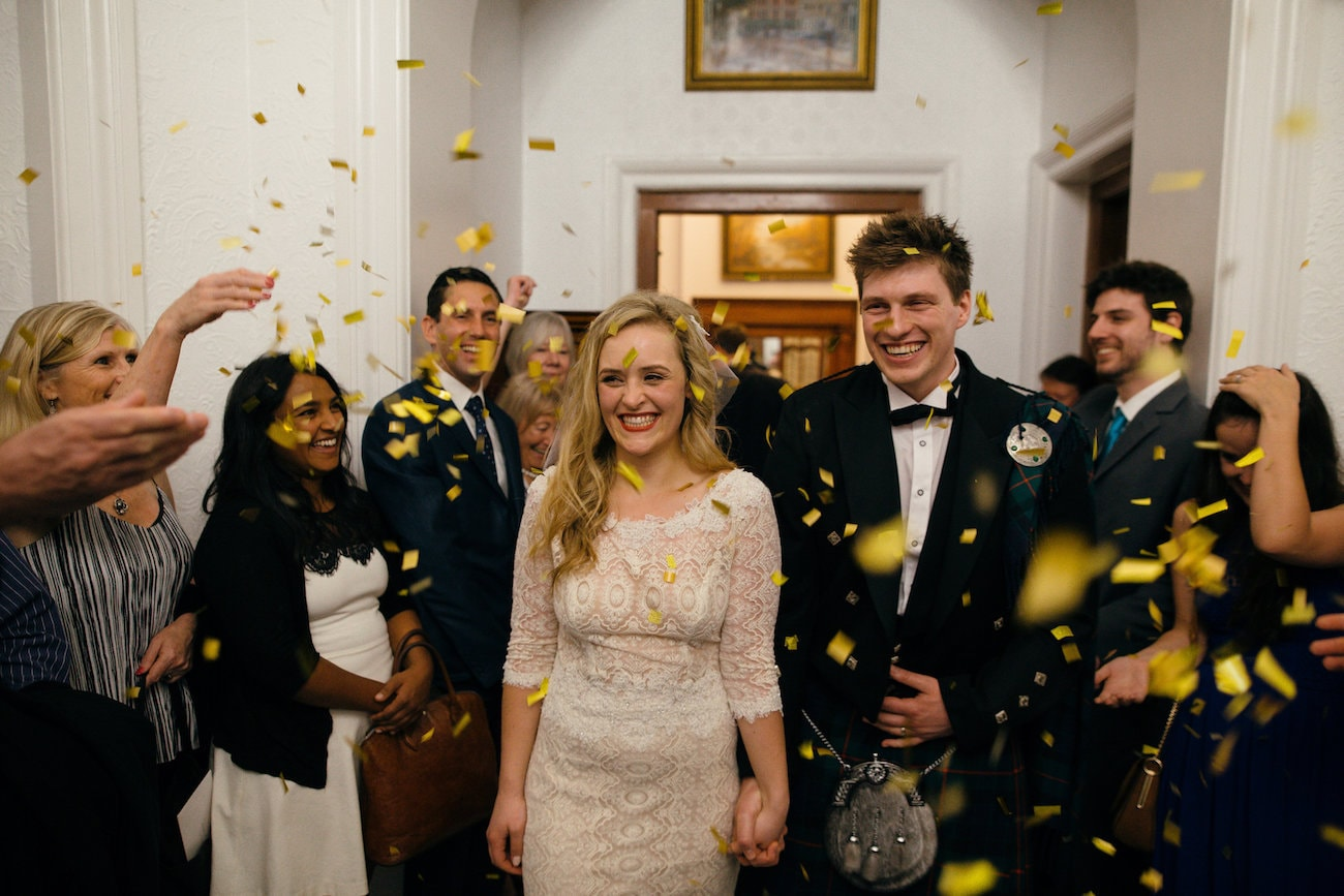 Gold Ribbon Confetti | Vintage Chic City Wedding at the Cape Town Club | Credit: Duane Smith