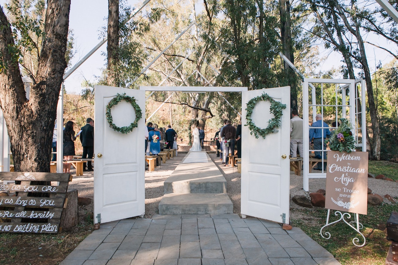 Forest Ceremony | Joyous Jewel Tone Winter Wedding | Credit: Dust and Dreams Photography