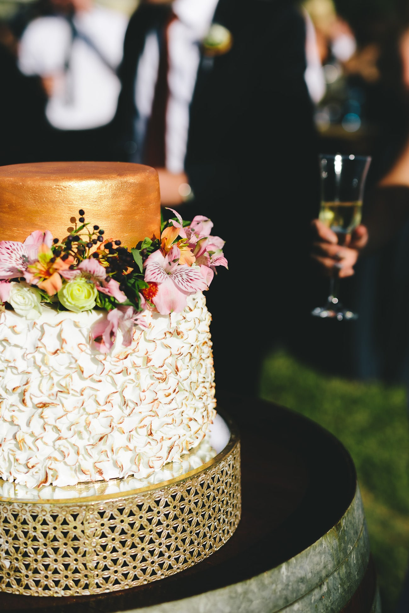 Copper Ruffle Wedding Cake   Credit: Charlie Ray Photography