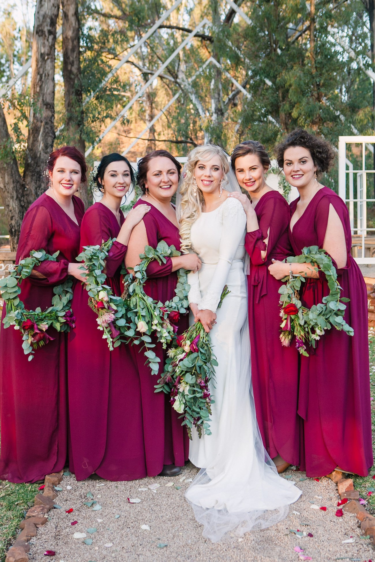 Wreath Bouquets | Joyous Jewel Tone Winter Wedding | Credit: Dust and Dreams Photography