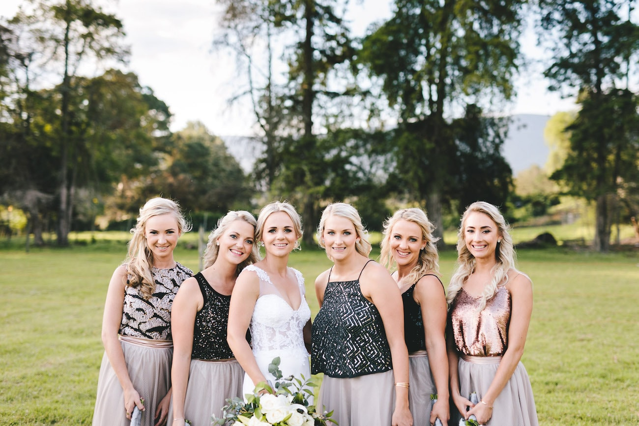 Metallic Bridesmaid Tops and Tulle Skirts | Credit: Charlie Ray Photography
