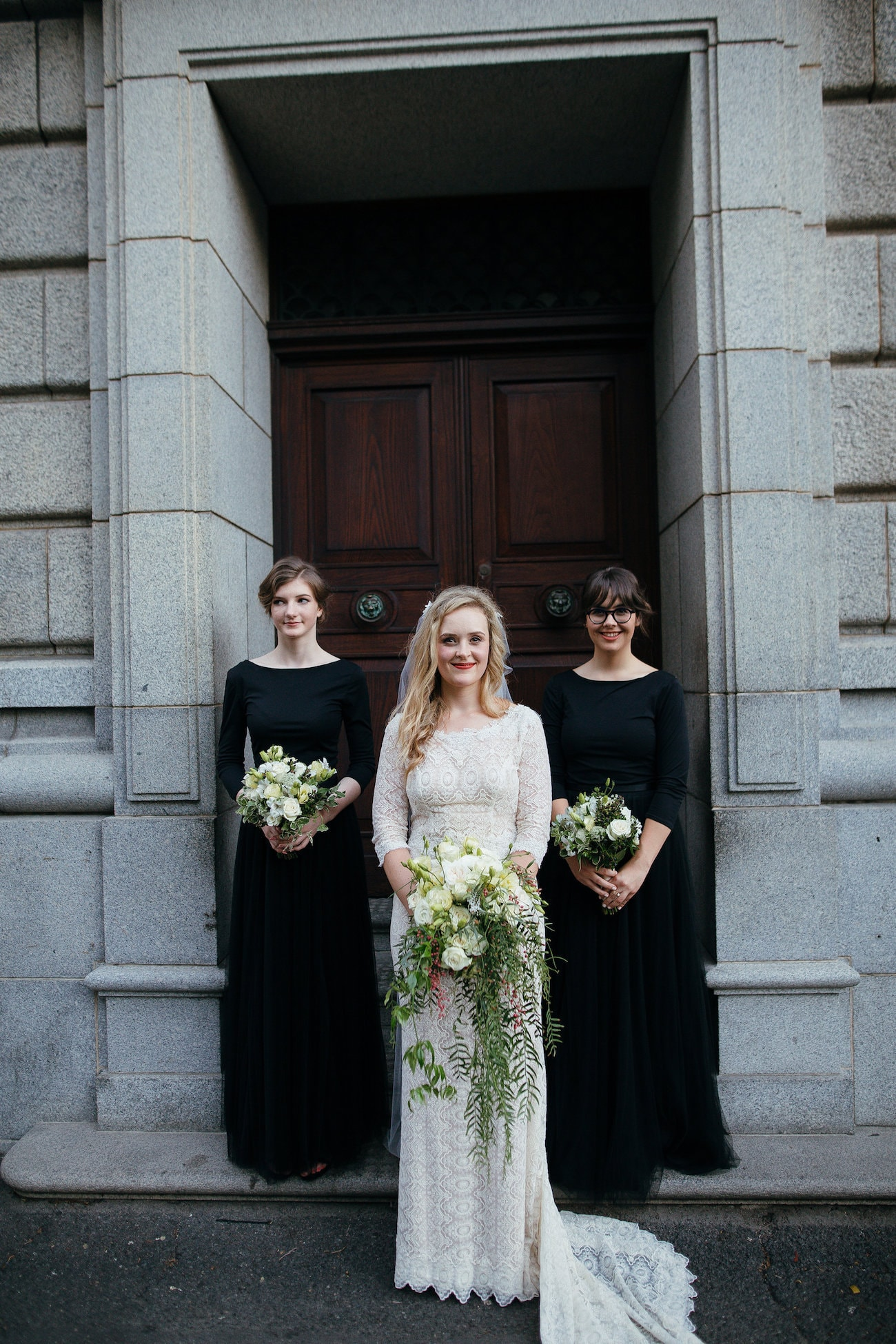 Black Long Sleeve Bridesmaid Dresses | Vintage Chic City Wedding at the Cape Town Club | Credit: Duane Smith