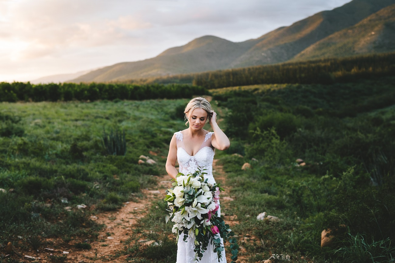 Bride with Illusion Lace Straps   Credit: Charlie Ray Photography