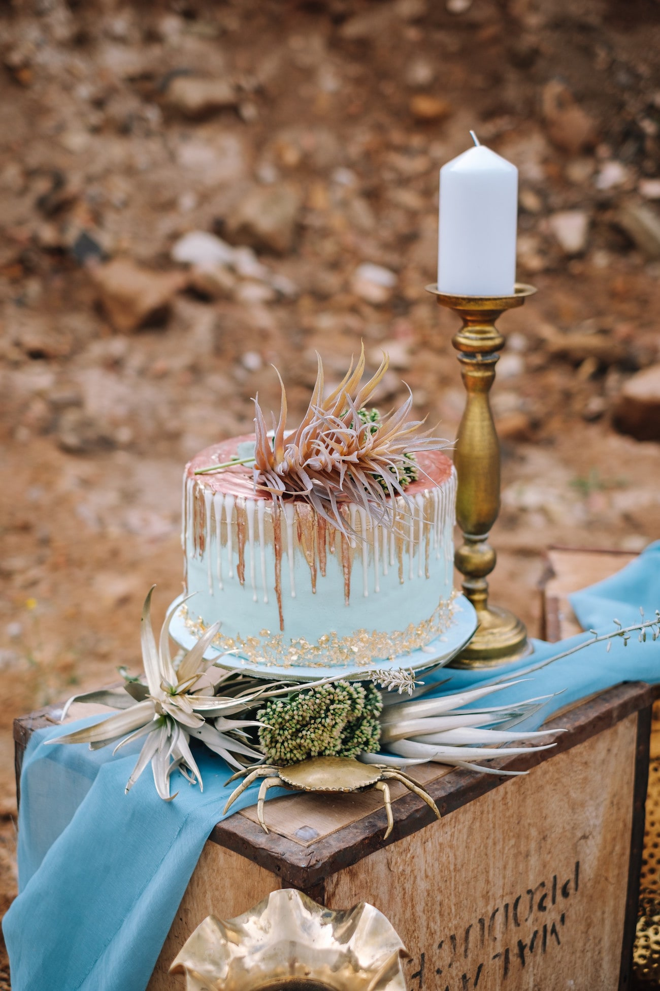 Gold & Copper Pastel Drip Cake | Atmospheric Wedding Inspiration | Credit: The Shank Tank