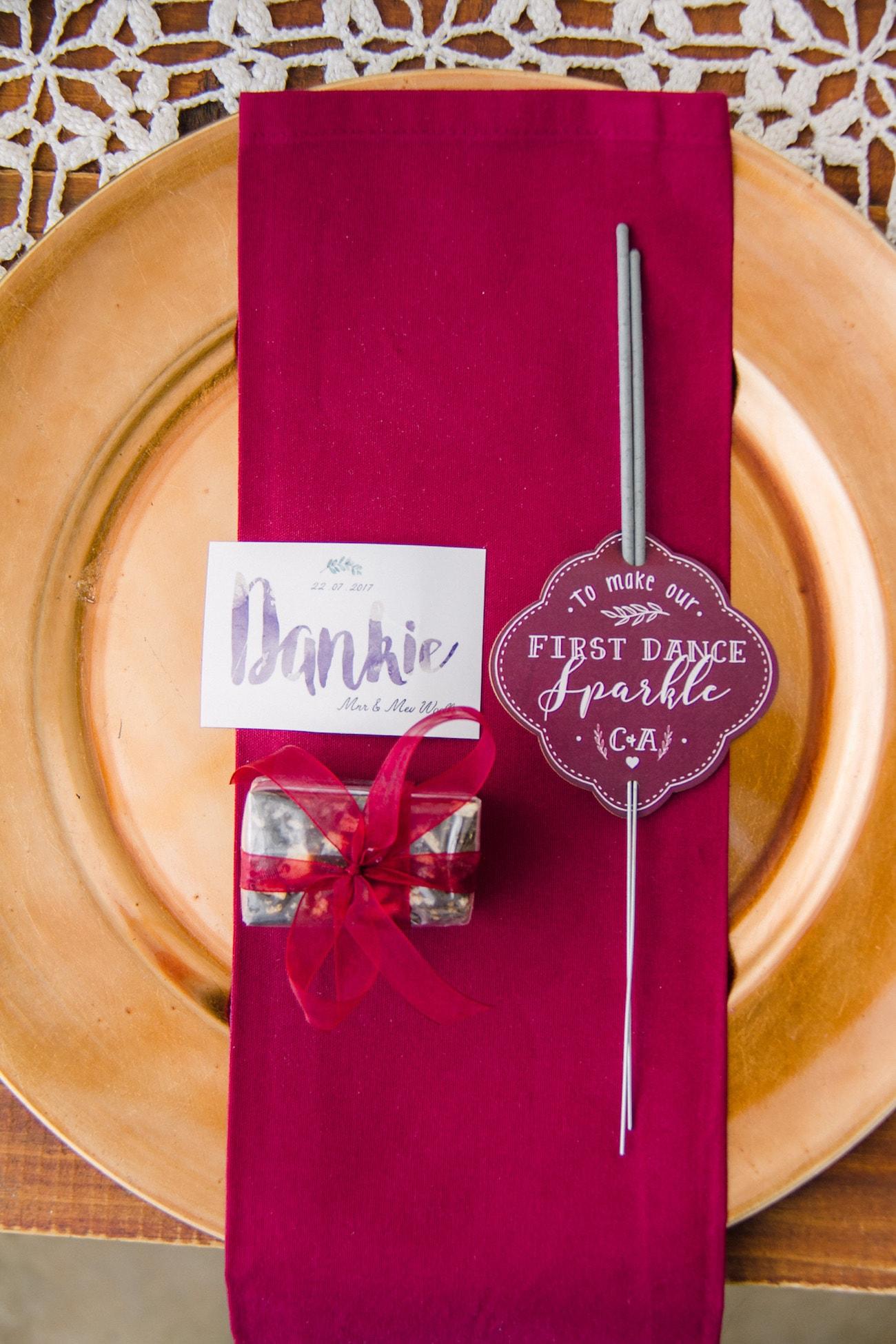Jewel Tone Place Setting | Joyous Jewel Tone Winter Wedding | Credit: Dust and Dreams Photography