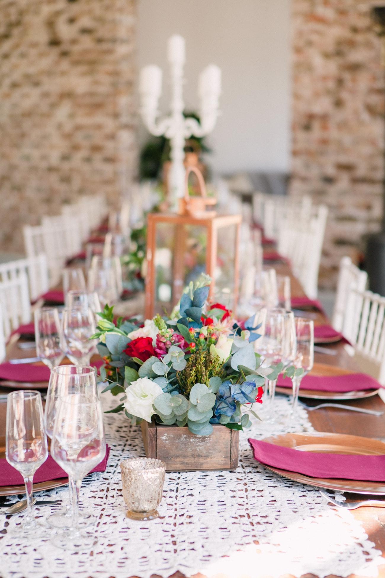 Jewel Tone Table Decor | Joyous Jewel Tone Winter Wedding | Credit: Dust and Dreams Photography