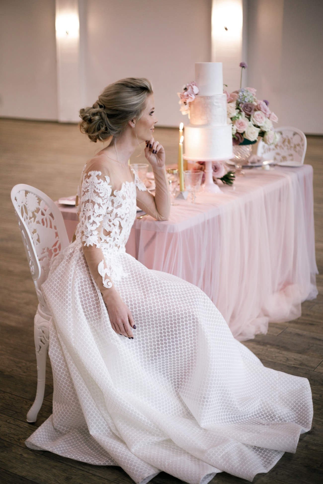 Wedding Dress with Honeycomb Skirt and Lace Sleeve Bodice | Credit: Jessica Notelo (32)