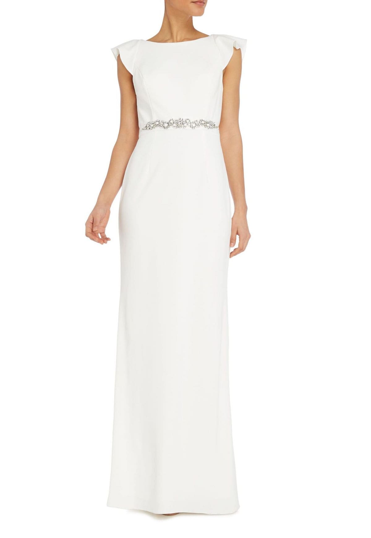 Ruffle Sleeve Crepe Gown With Open Back And Jeweled Sash By Adrianna Papell At House Of Fraser 210