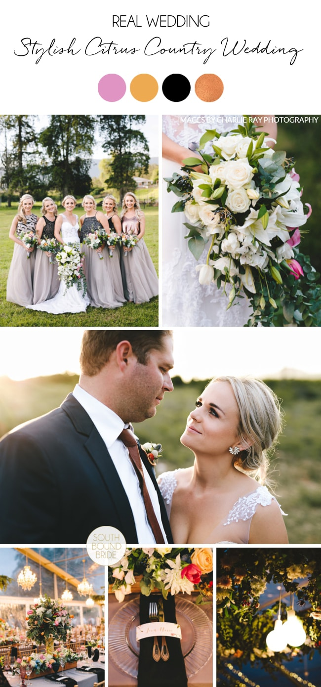 Stylish Citrus Country Wedding by Charlie Ray Photography   SouthBound Bride