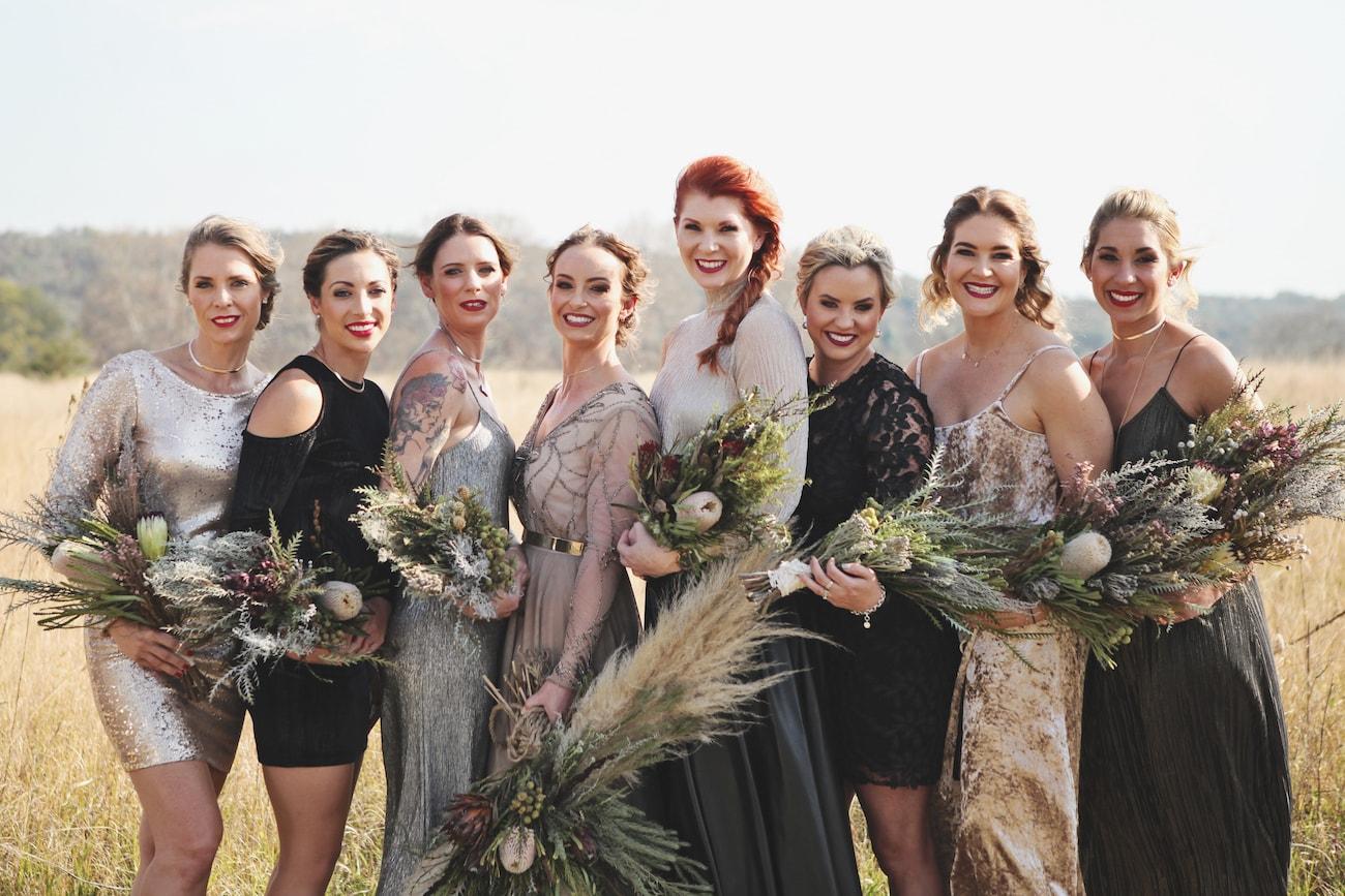 Mismatched Boho Bridesmaids | Credit: Carmen Roberts