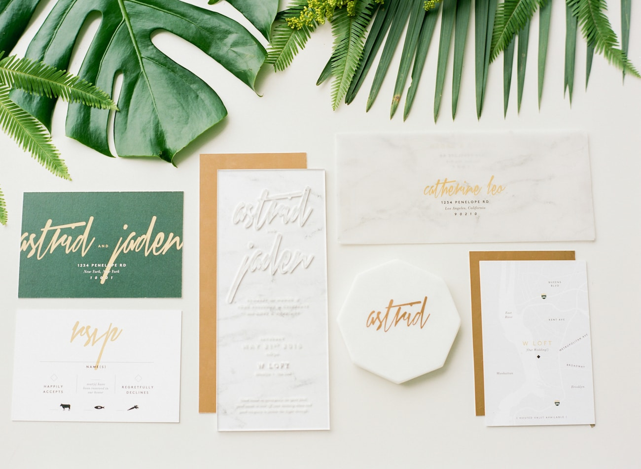 Acrylic & Marble Wedding Invitation Suite | Credit: Ruth Eileen Photography