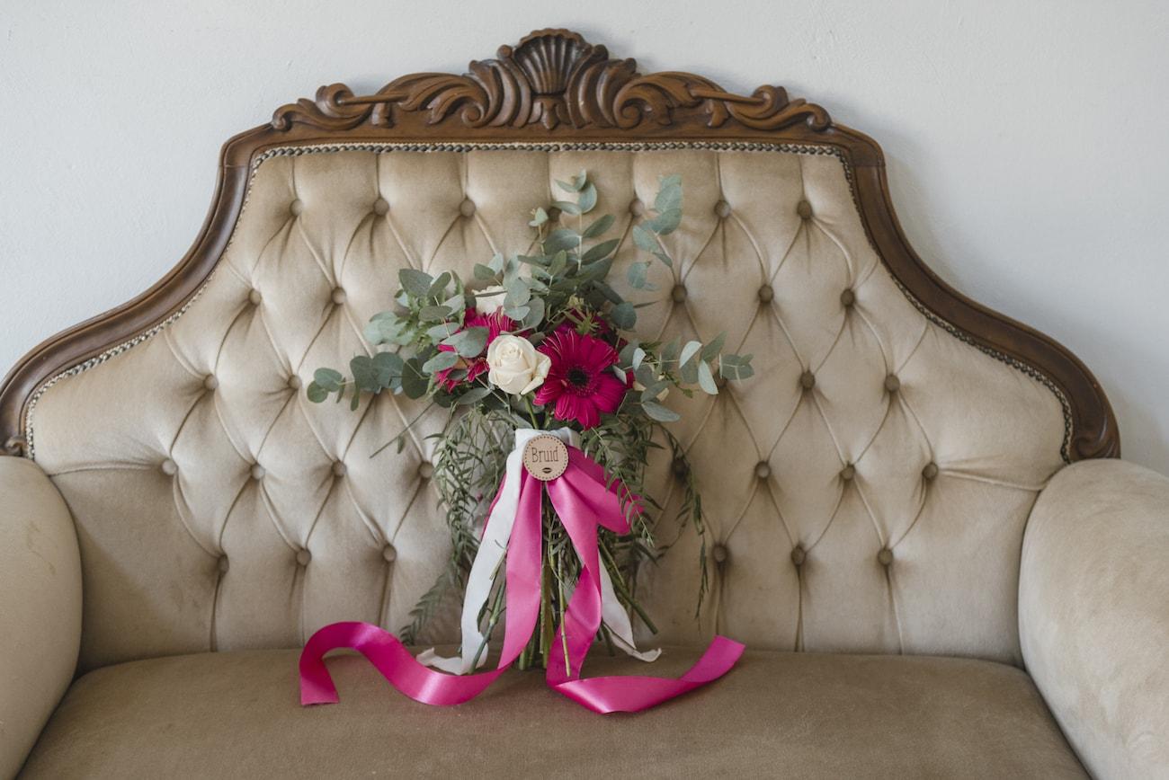 Magenta Ribbon Bouquet | Credit: Wynand van der Merwe