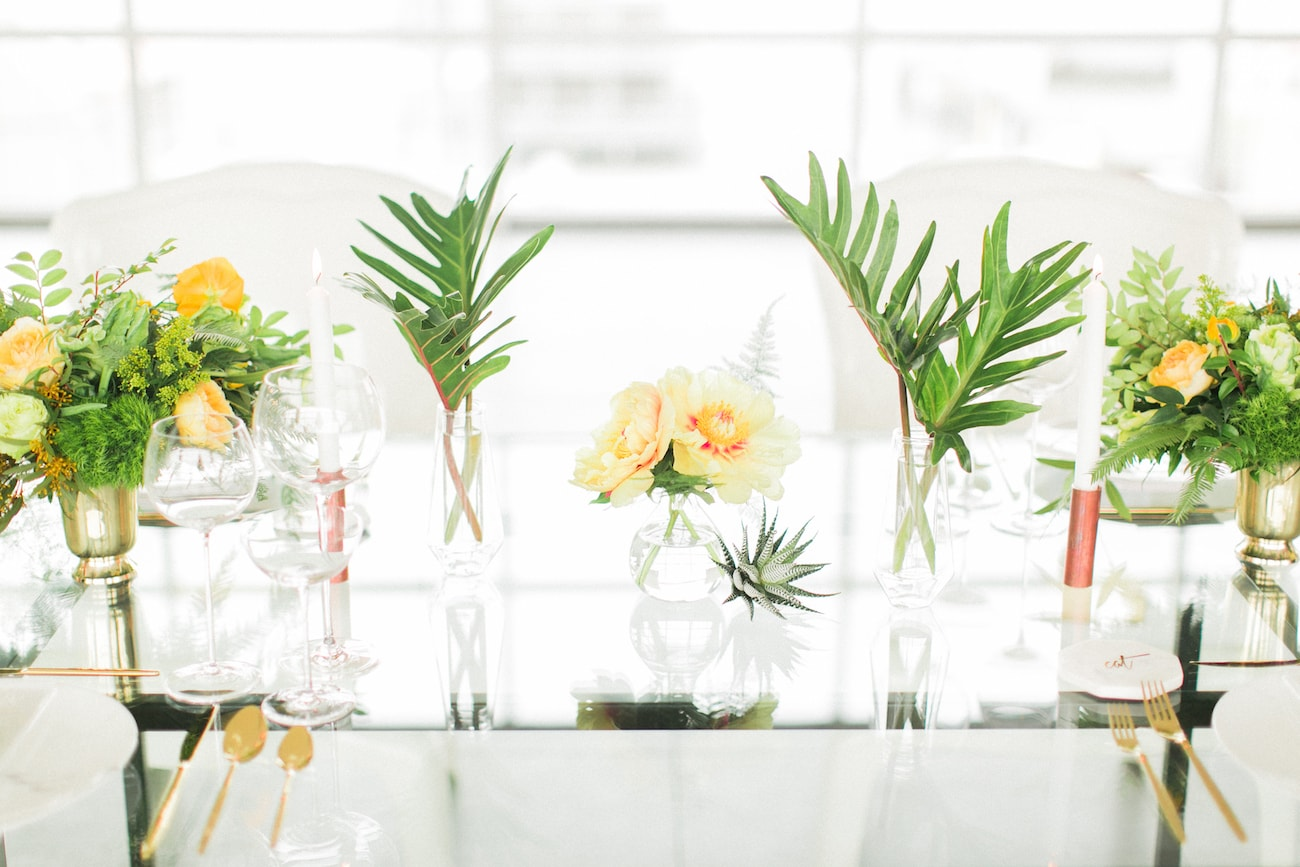 Glass Wedding Tabletop | Credit: Ruth Eileen Photography