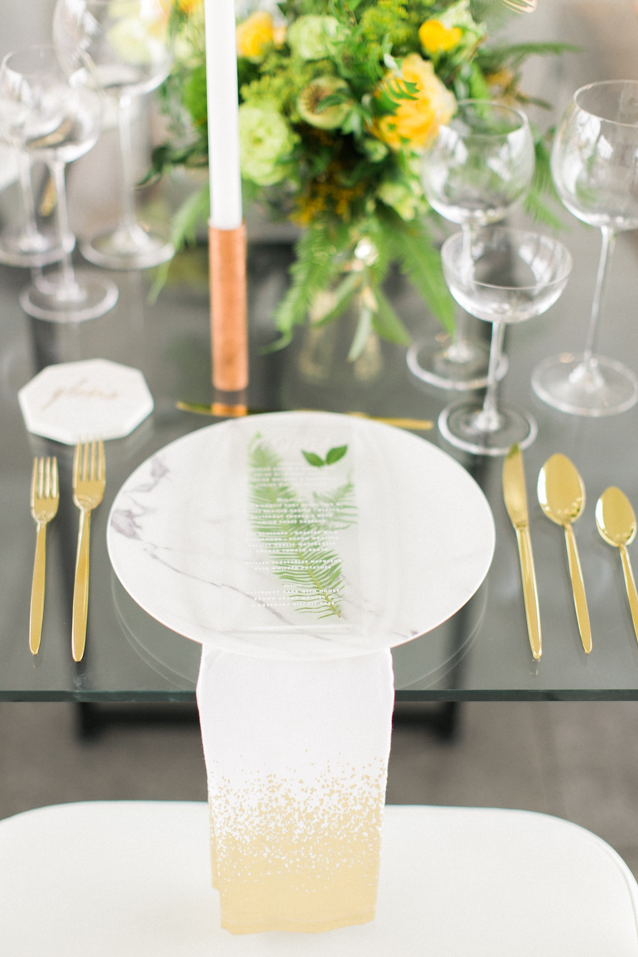 Lucite Menu with Fern | Credit: Ruth Eileen Photography
