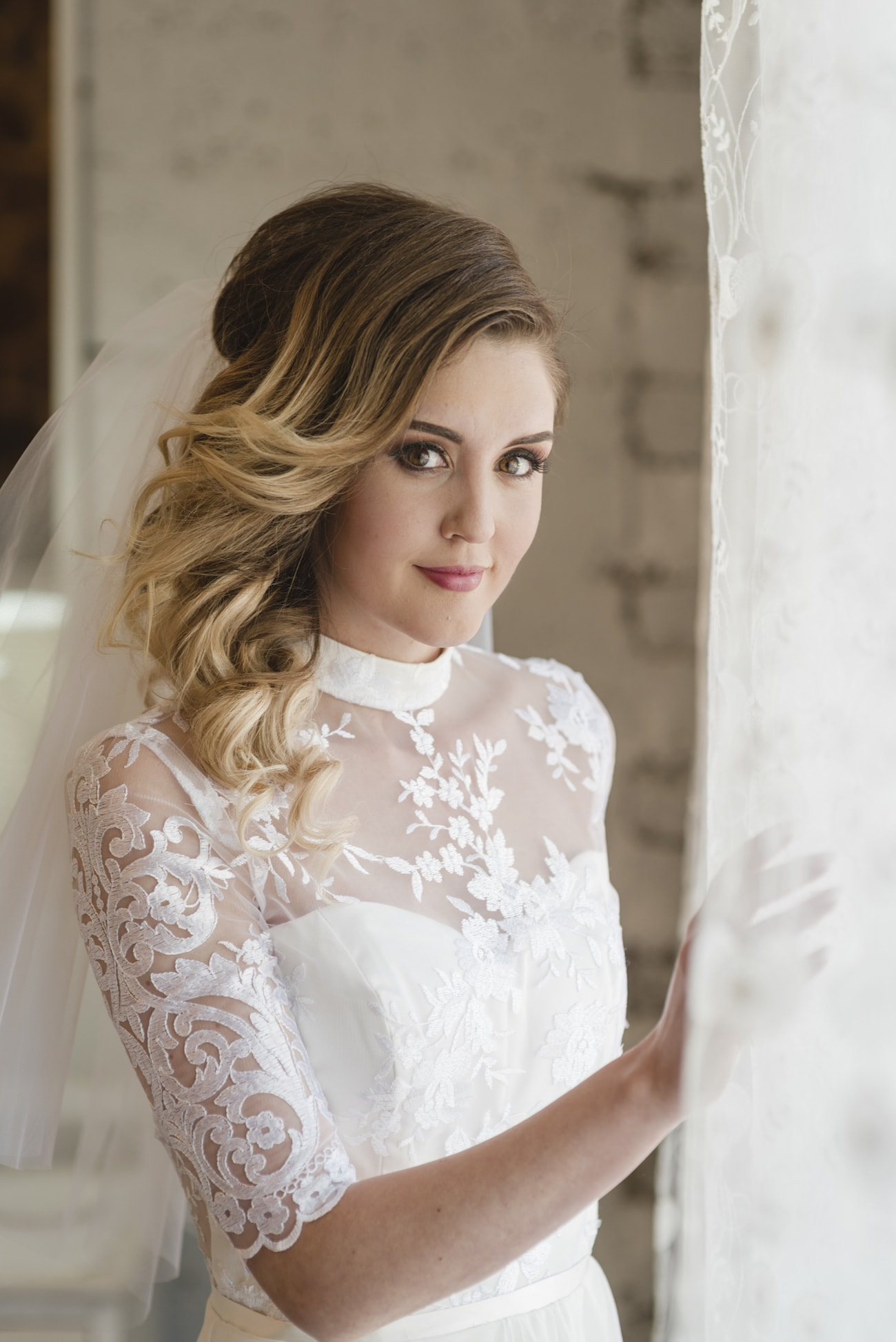 Lace Victorian Neckline Sleeve Wedding Dress | Credit: Wynand van der Merwe (9)