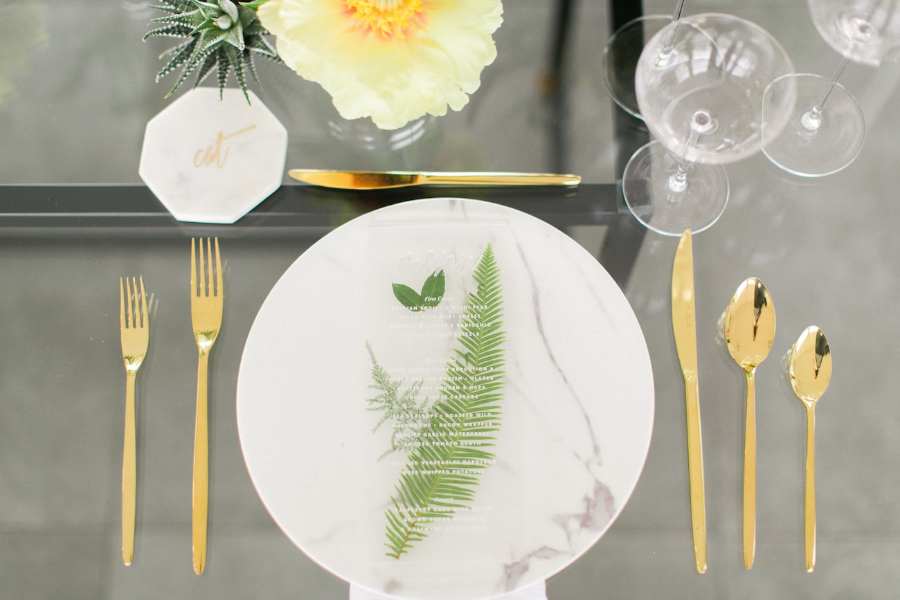 Lucite & Marble Place Setting | Credit: Ruth Eileen Photography