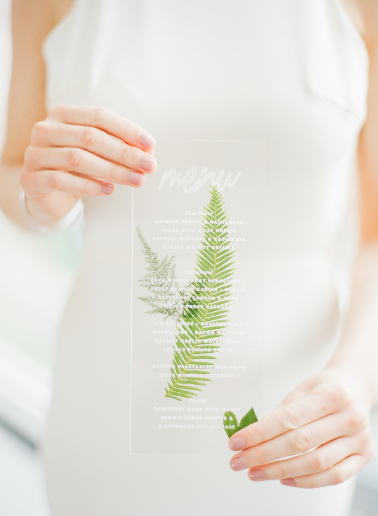 Transparent Wedding menu | Credit: Ruth Eileen Photography