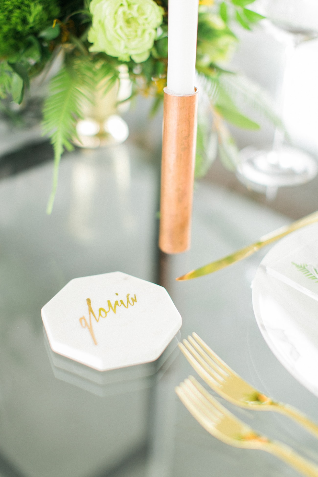 Marble Coaster Place Card | Credit: Ruth Eileen Photography