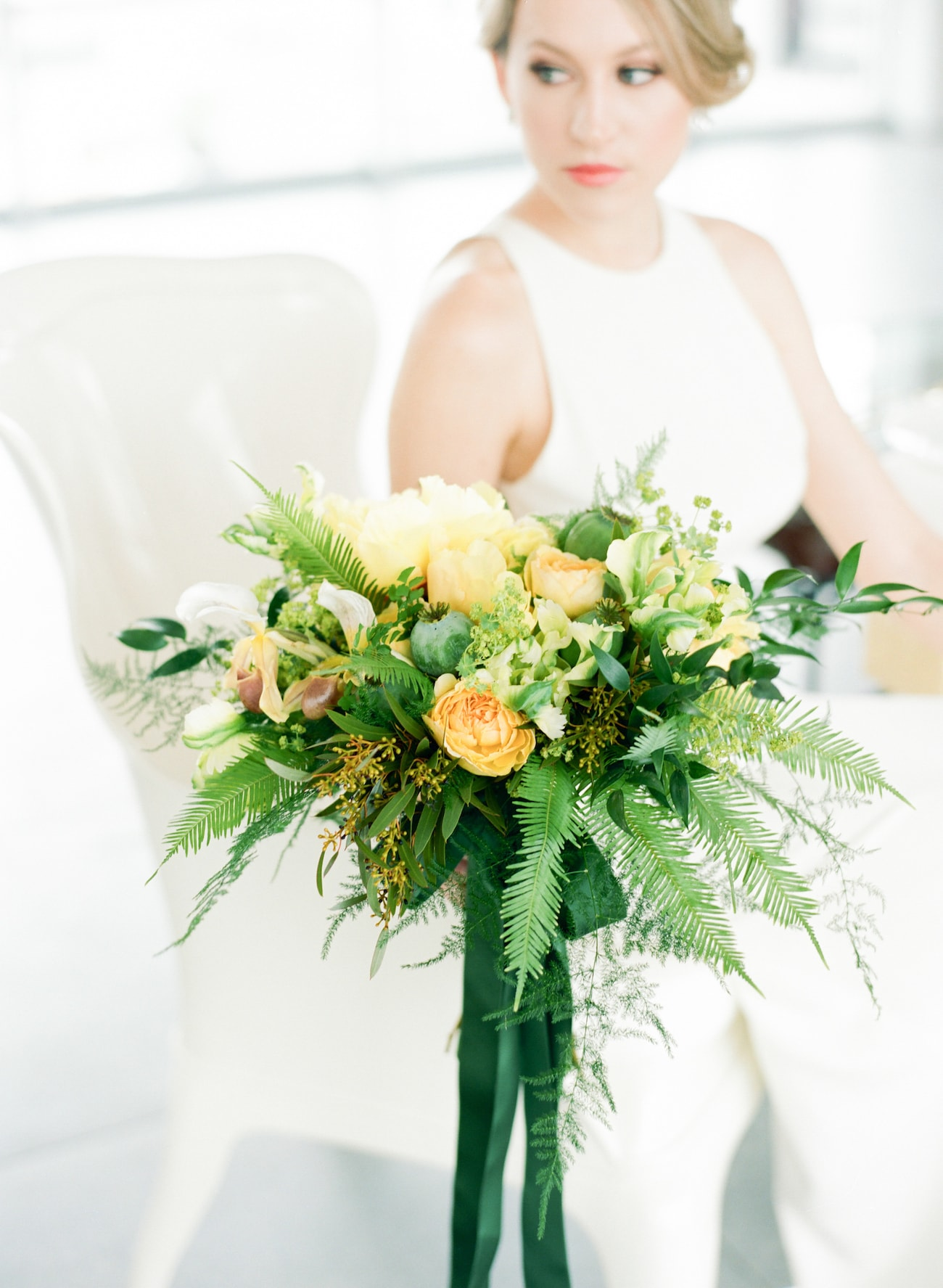 Tropical Greenery Wedding Bouquet | Credit: Ruth Eileen Photography