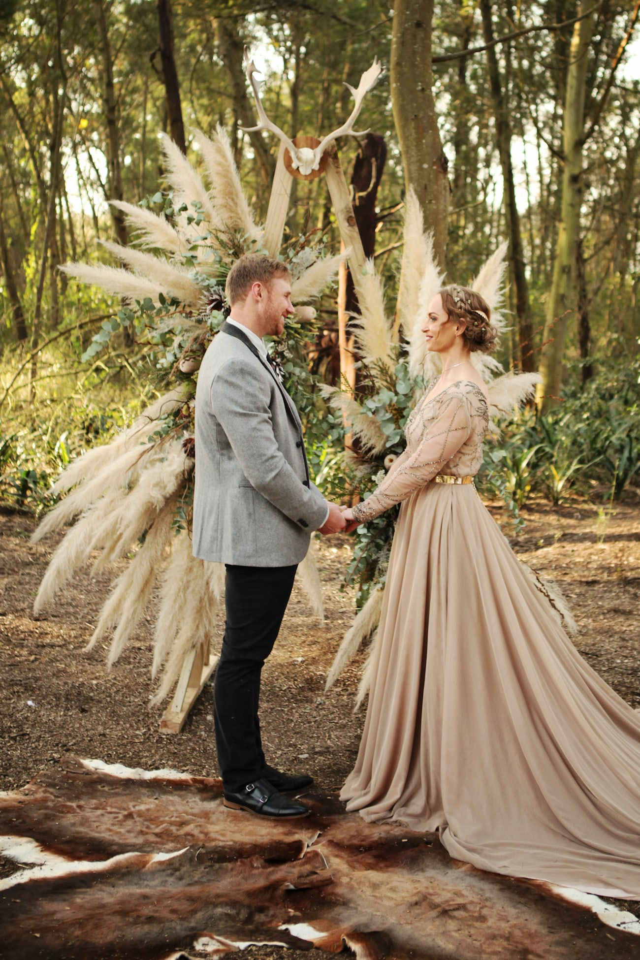 Forest Wedding Ceremony with Pampas Grass Arch | Credit: Carmen Roberts (20)