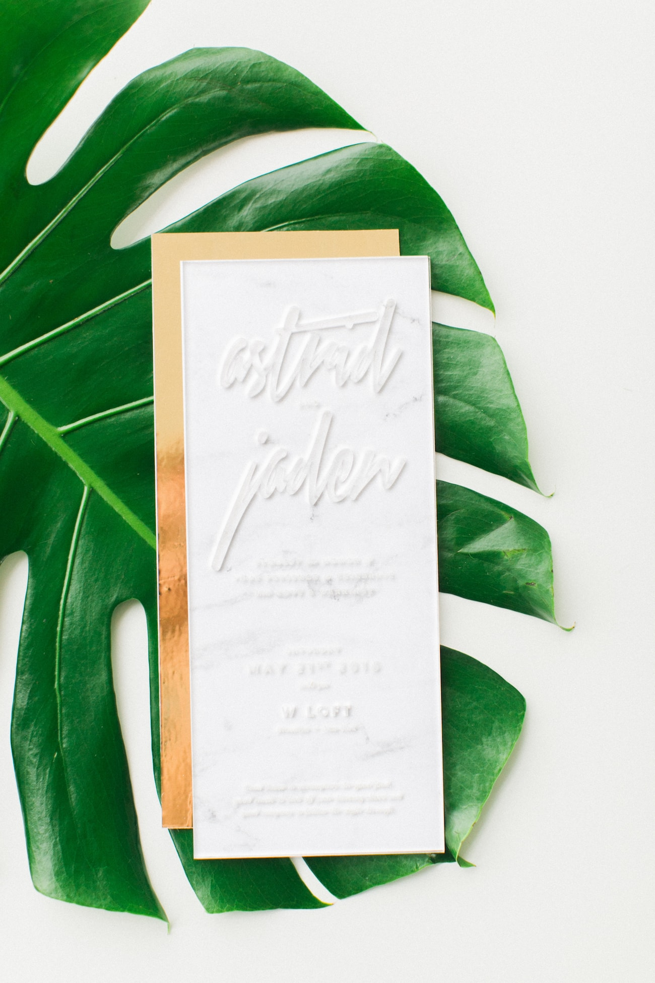 Modern Tropical Acrylic Wedding Invitation | Credit: Ruth Eileen Photography