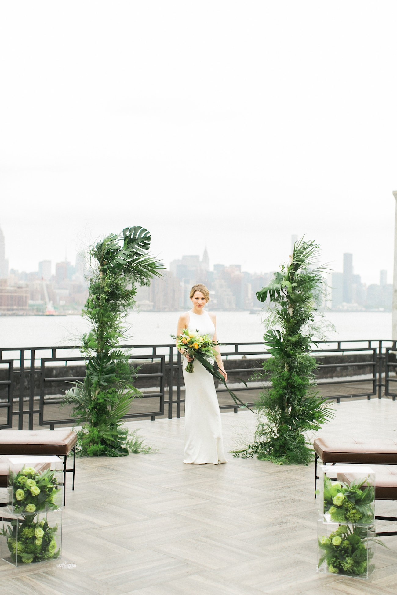 Tropical Greenery Ceremony Arch for City Wedding | Credit: Ruth Eileen Photography