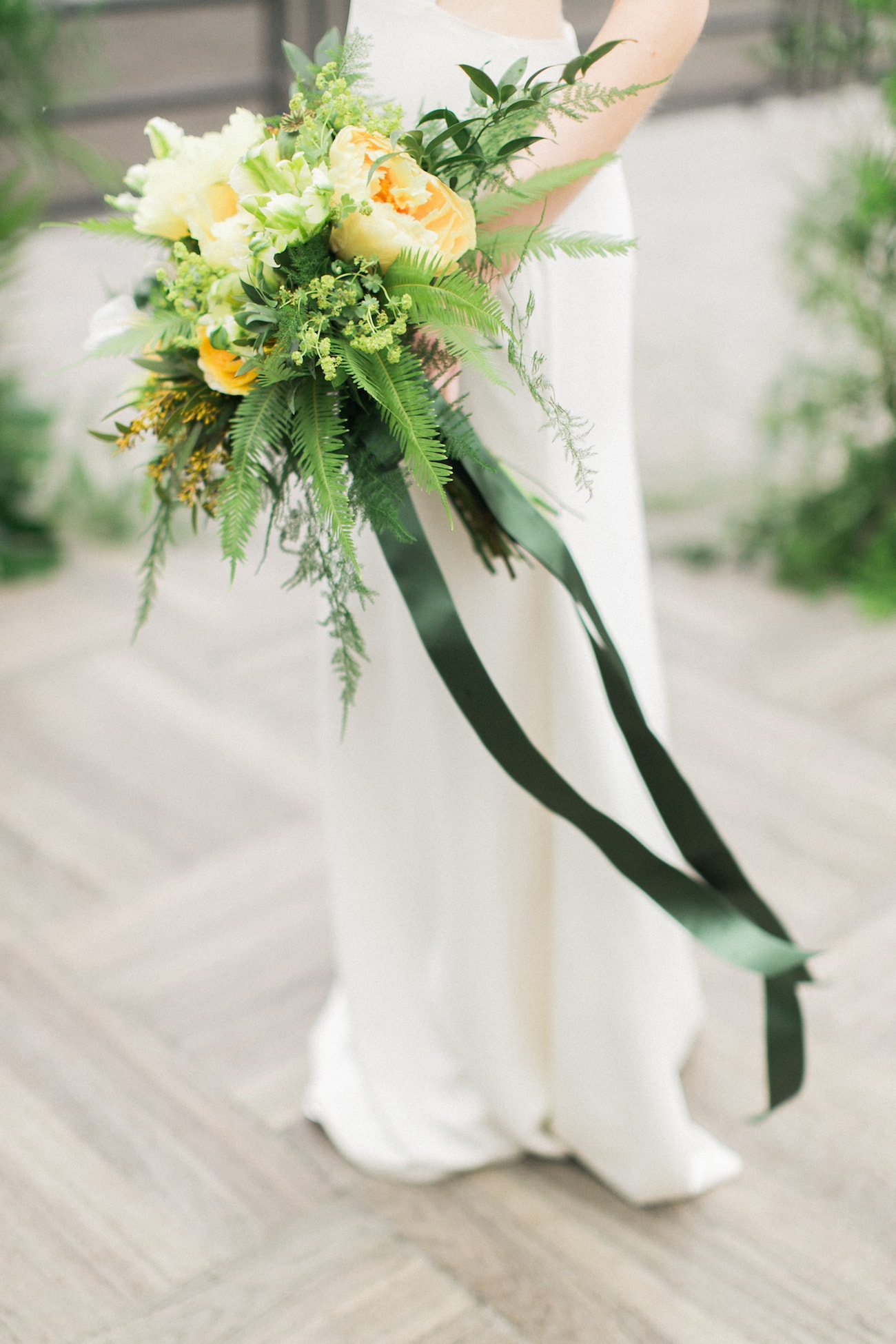 Yellow Bouquet with Green Ribbons | Credit: Ruth Eileen Photography