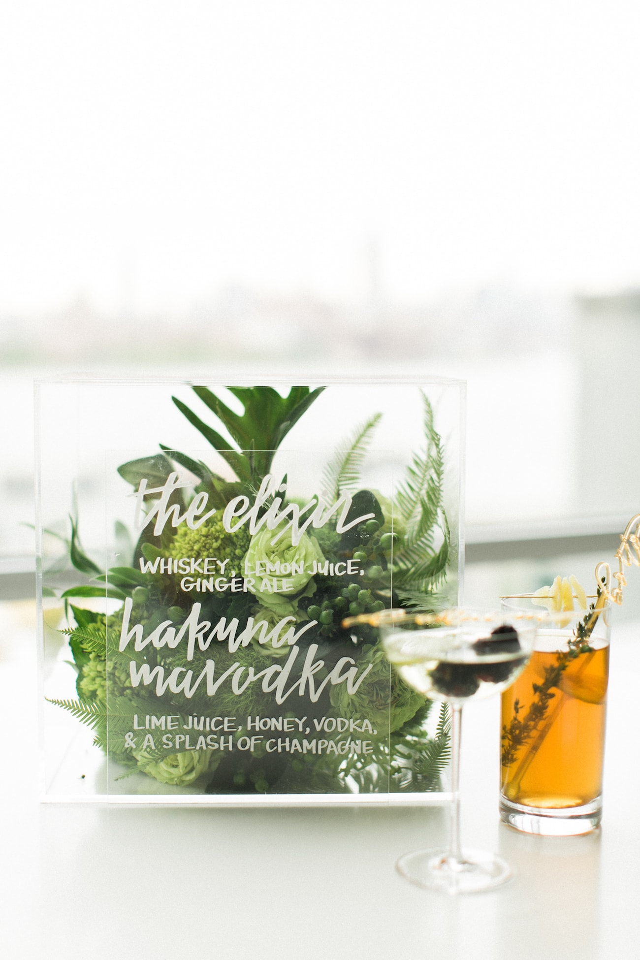Acrylic Wedding Bar Sign | Credit: Ruth Eileen Photography