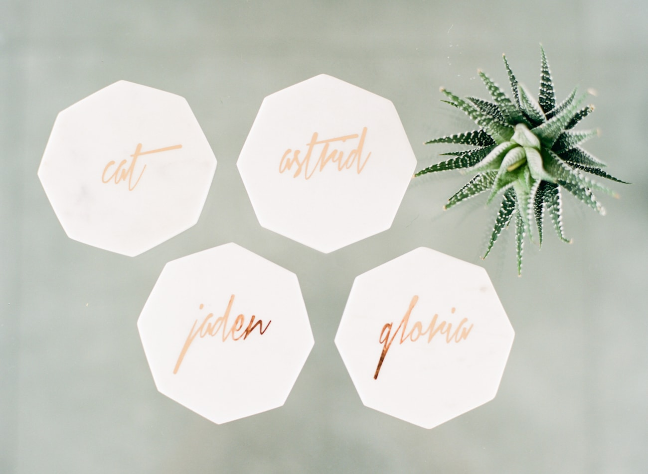 Marble Coasters with Gold Calligraphy | Credit: Ruth Eileen Photography