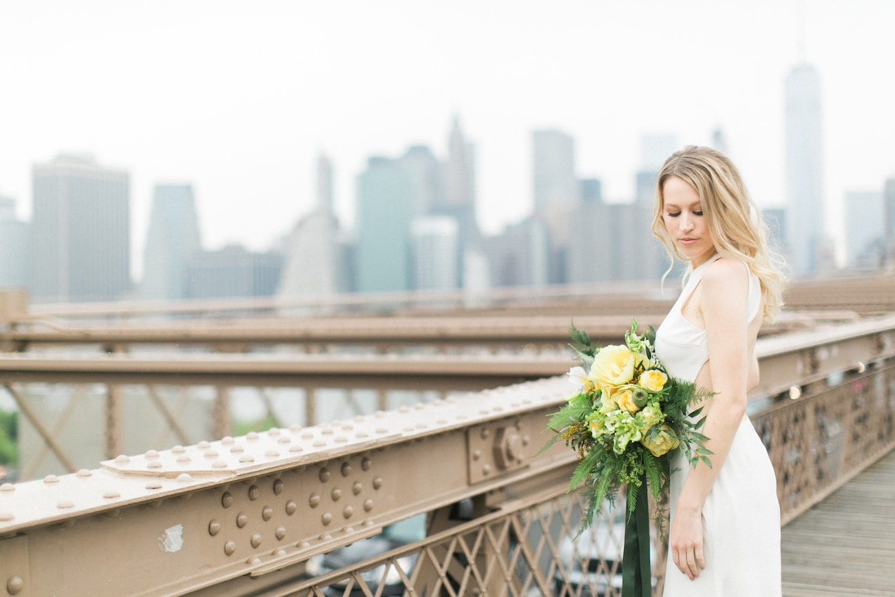 Bride with New York Skyline | Credit: Ruth Eileen Photography