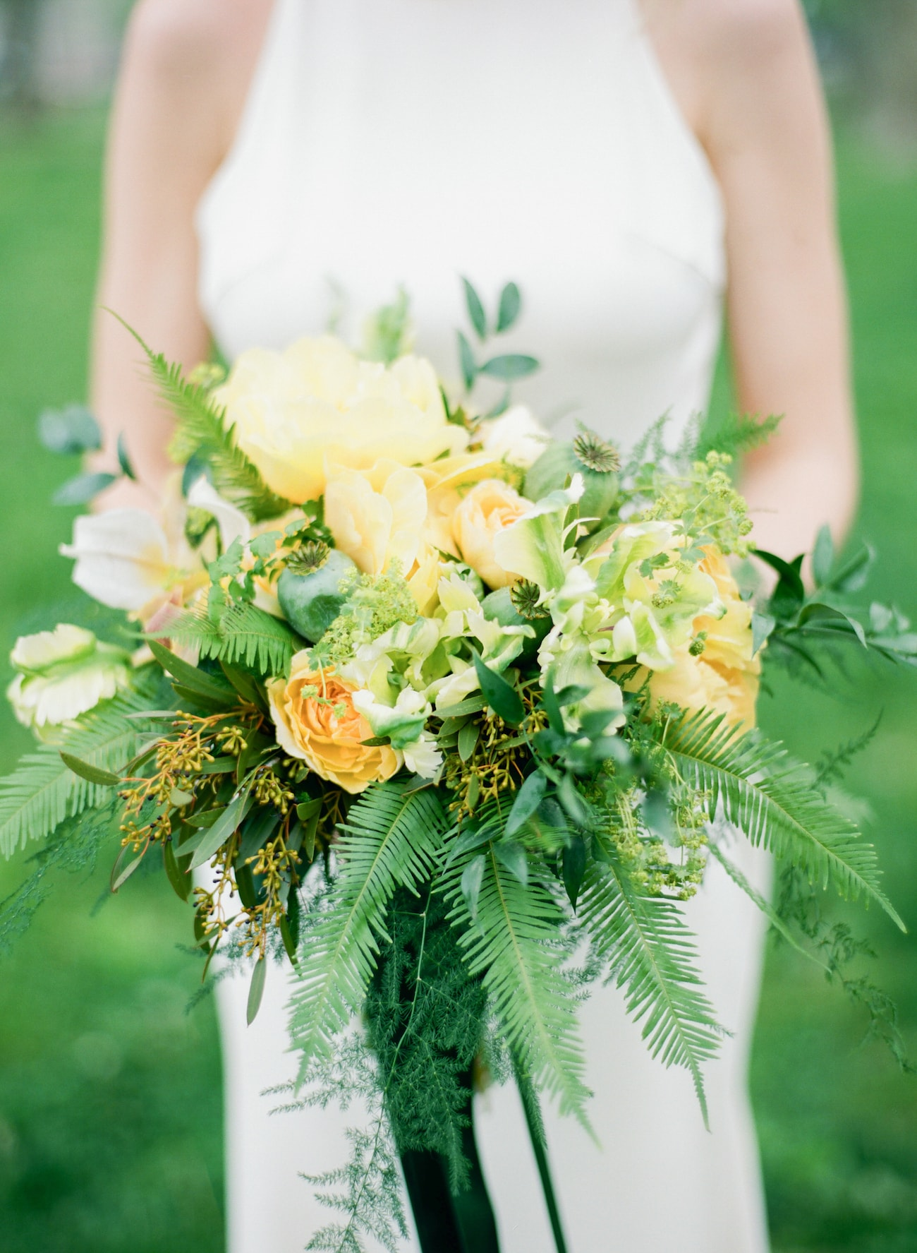 Tropical Yellow and Green Bouquet with Ferns | Credit: Ruth Eileen Photography