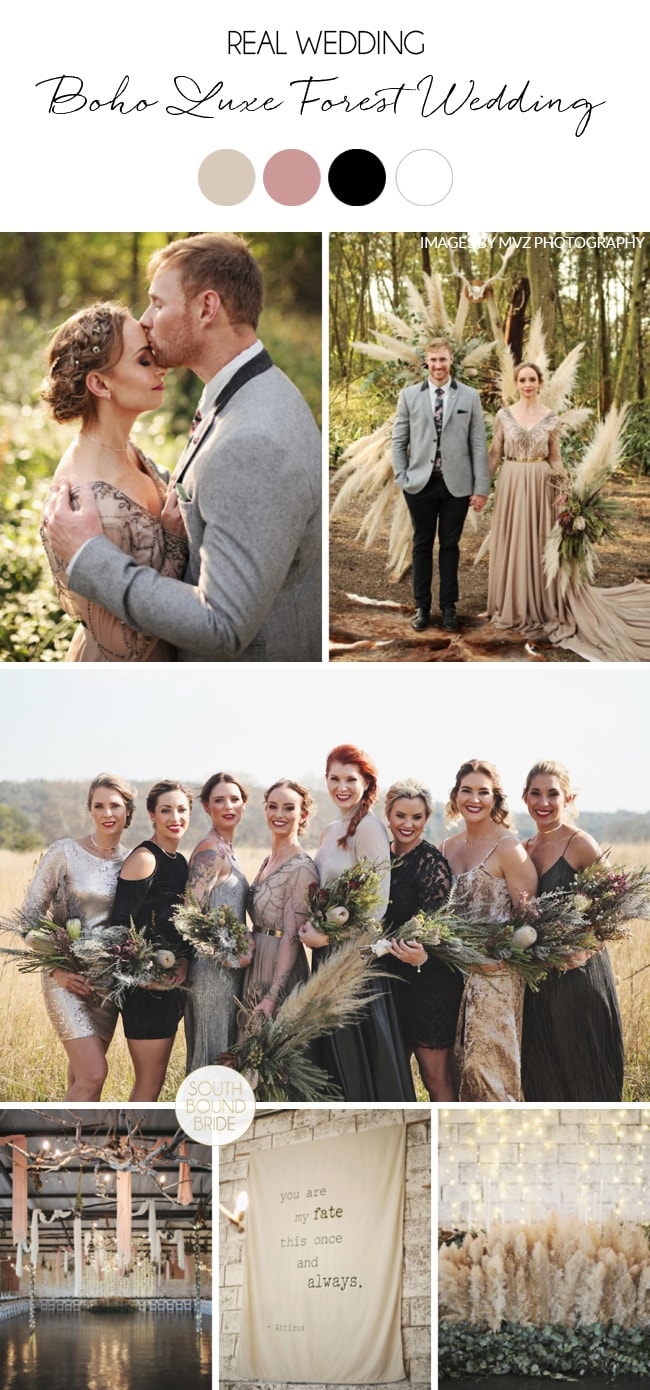 A Boho Luxe Forest Wedding with a Game of Thrones Vibe and a Pampas Arch