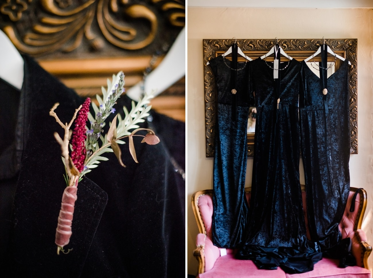 Black Velvet Bridal Party Attire | Image: Roxanne Davison