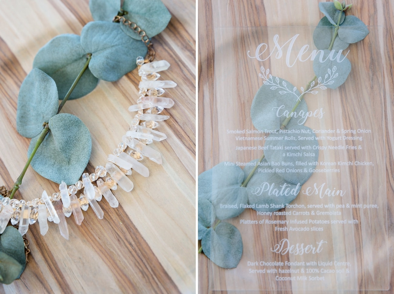 Crystal Bridal Necklace & Perspex Menu | Image: Jaqui Franco