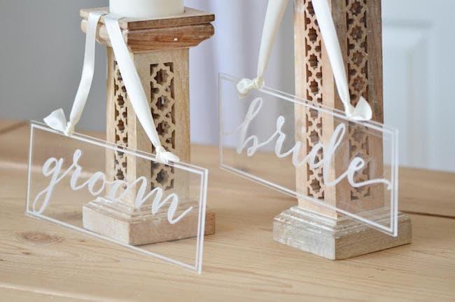 Acrylic Bride & Groom Signs