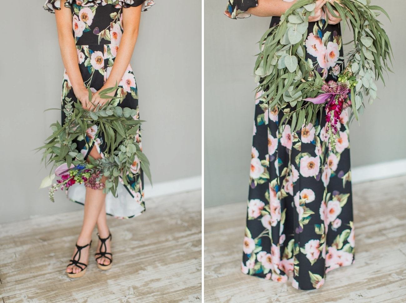 Black Floral Bridesmaid Dresses | Image: Grace Studios