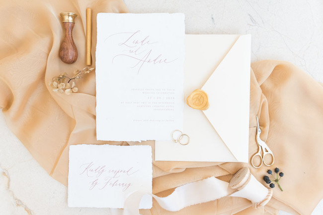 Calligraphy & Wax Seal Wedding Invitation | Image: Cara Faye Weddings