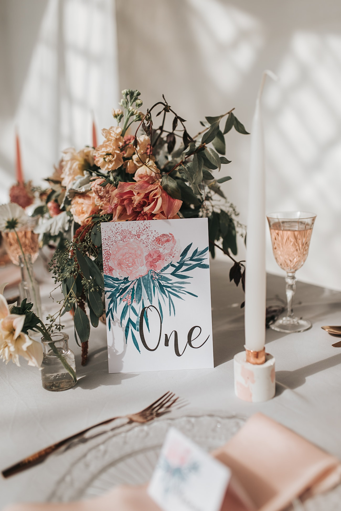 Watercolor Floral Table Number | Image: Pear & Bear Photography