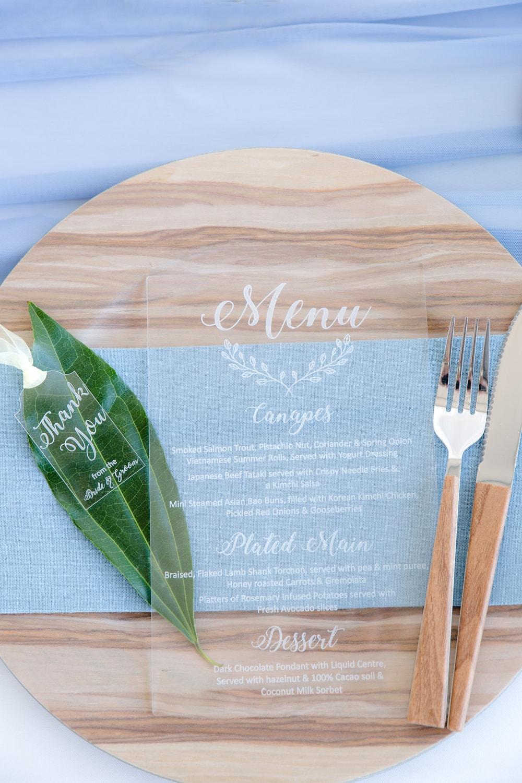 Transparent Wedding Menu Place Setting   Image: Jaqui Franco