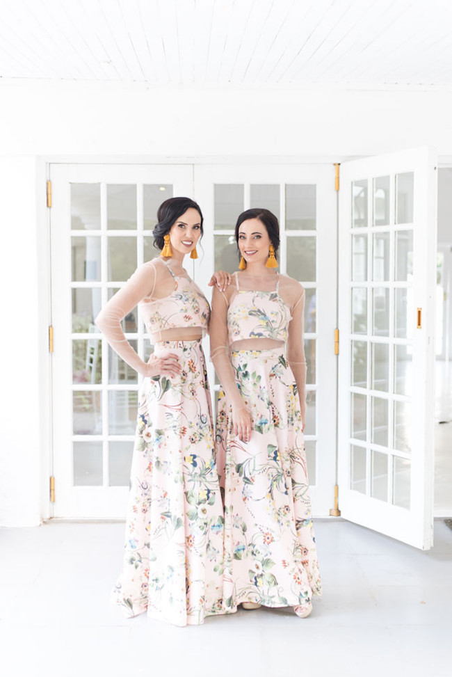 Floral Crop Top Bridesmaid Dresses | Image: Cara Faye Weddings