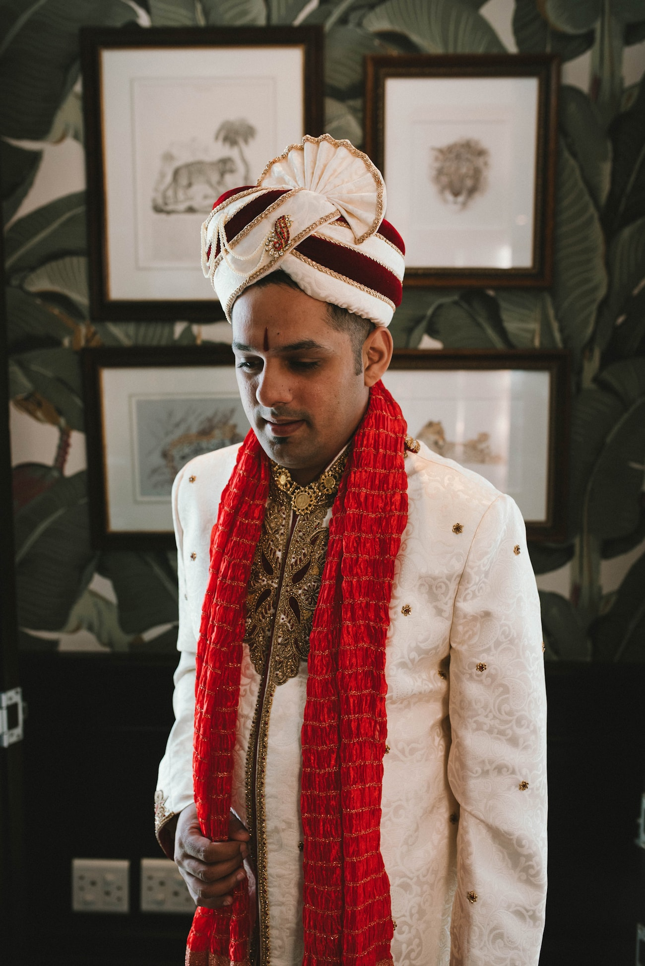 Groom in Traditional Achkan & Safa | Image: Claire Thomson
