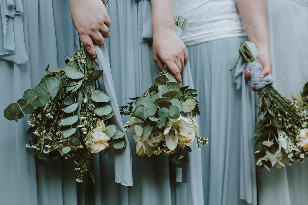 Bridesmaid Separates & Greenery Bouquets | Image: Jessica J Photography