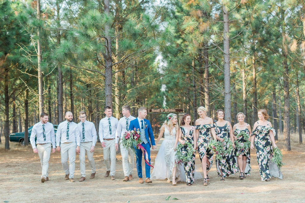 Forest Wedding Bridal Party | Image: Grace Studios