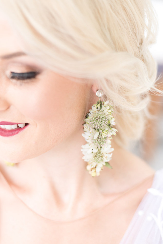 Real Flower Botanical Earrings | Image: Cara Faye Weddings