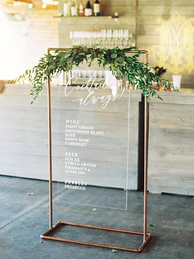 Transparent Wedding Signage