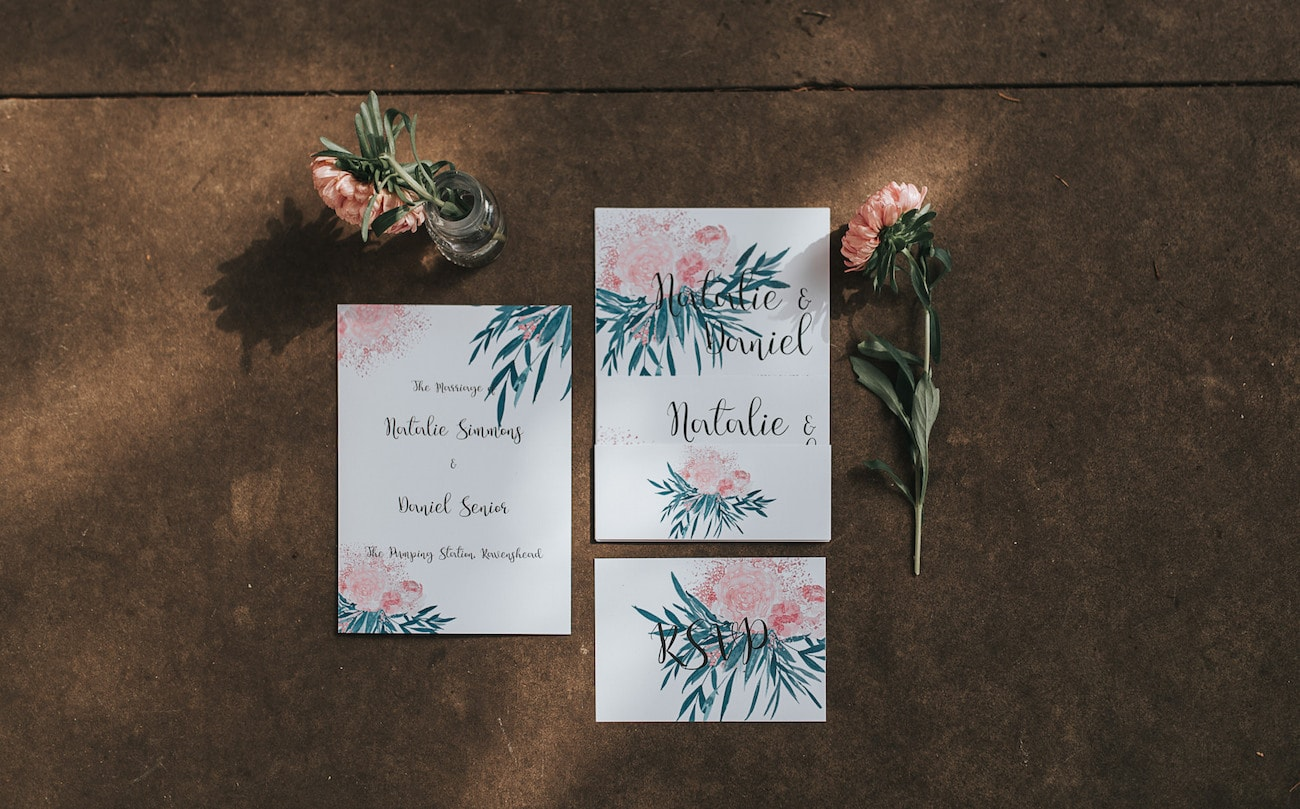 Floral Watercolor Wedding Invitation | Image: Pear & Bear Photography