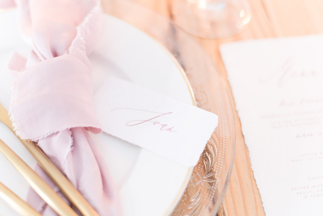 Calligraphy Place Card | Image: Cara Faye Weddings