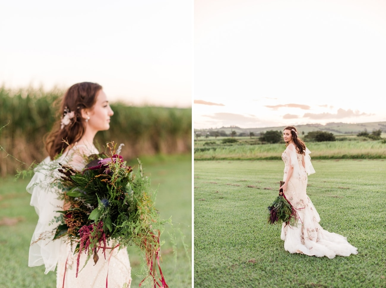 Bride with Herb Bouquet | Image: Roxanne Davison