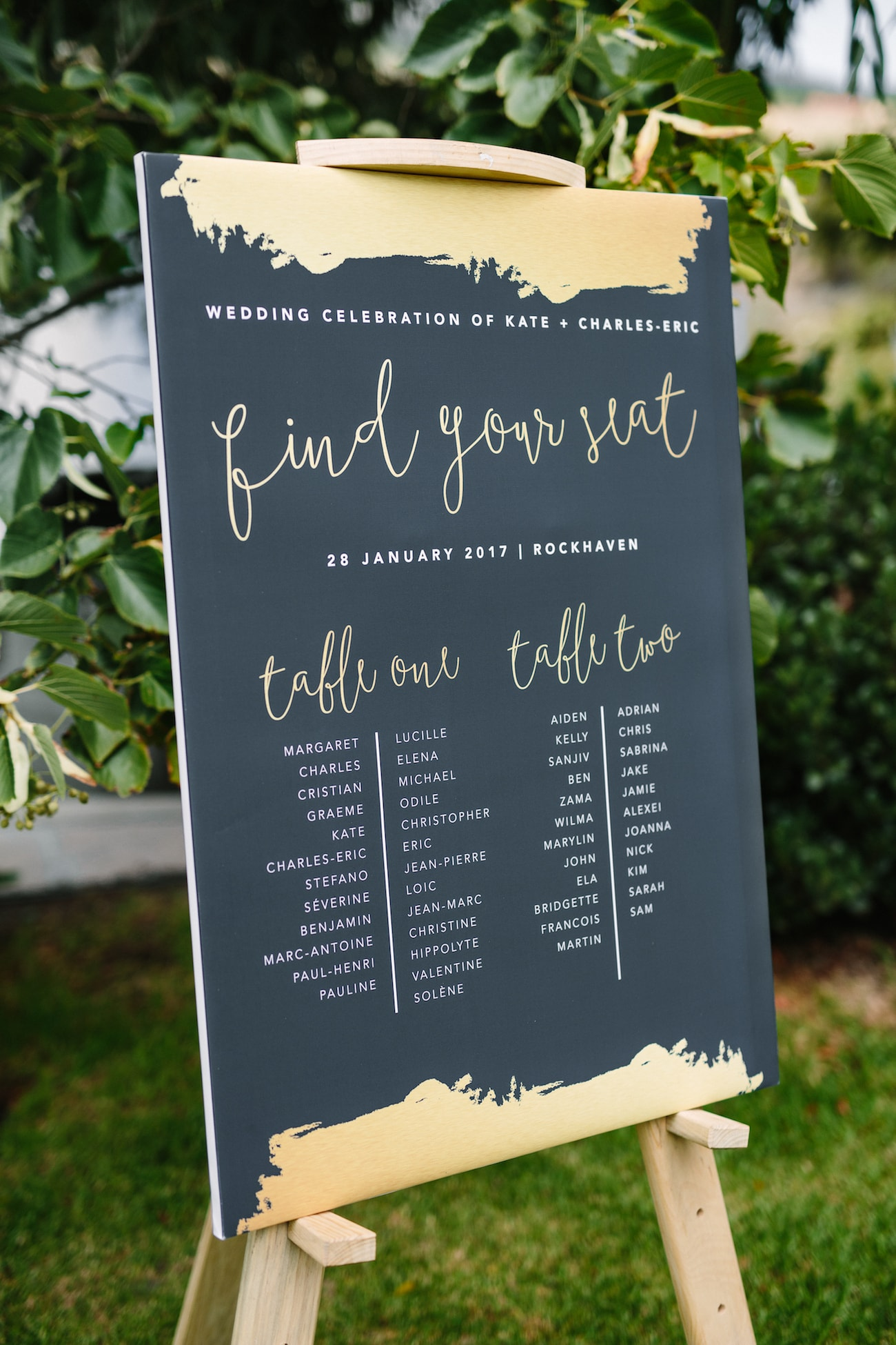 Black & Gold Table Plan | Image: Tasha Seccombe